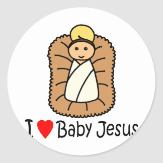 I Heart (Love) Baby Jesus Classic Round Sticker