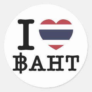 I Heart (Love) Baht Classic Round Sticker