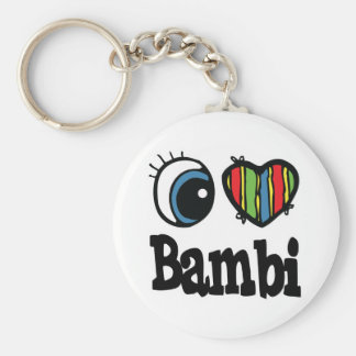 I Heart (Love) Bambi Basic Round Button Key Ring