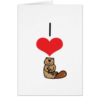 I Heart (Love) Beavers Greeting Card
