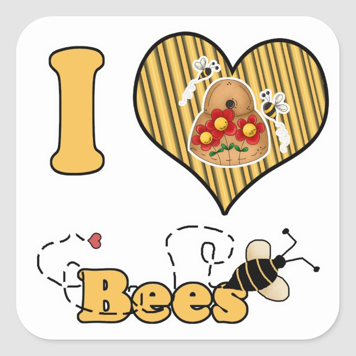I Heart (Love) Bees with Hive Square Sticker