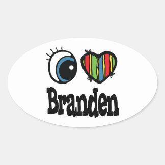 I Heart (Love) Branden Oval Sticker