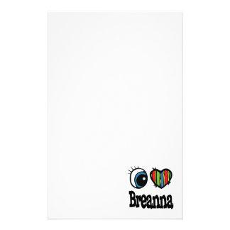 I Heart (Love) Breanna Personalised Stationery