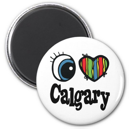 I Heart (Love) Calgary 6 Cm Round Magnet