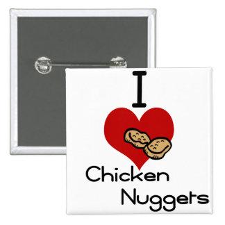 I heart-love chicken nuggets 15 cm square badge