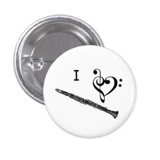 I Heart Love Clarinet Music Button