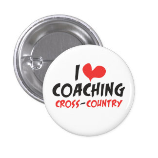 I heart (love) Coaching Cross Country 1 Inch Round Button