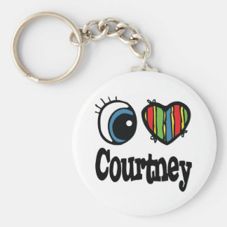I Heart (Love) Courtney Basic Round Button Key Ring