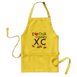 I heart love Cross Country Running XC Apron