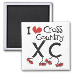 I heart (love) Cross Country Running XC Refrigerator Magnets