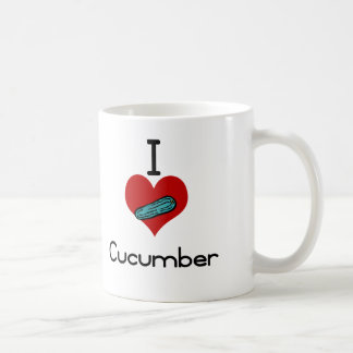 I heart-love cucumber basic white mug