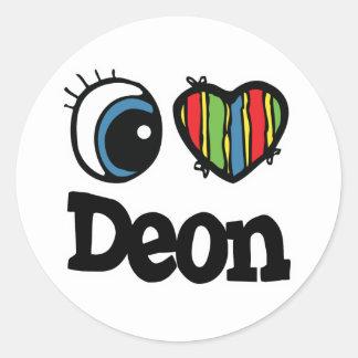 I Heart (Love) Deon Round Sticker