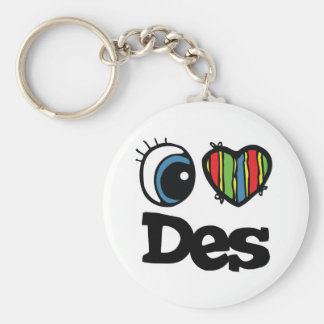 I Heart (Love) Des Basic Round Button Key Ring