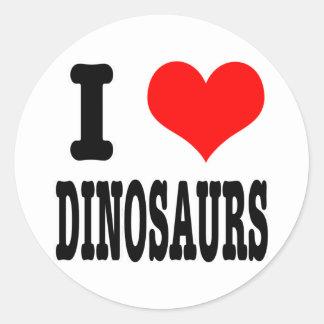 I HEART (LOVE) dinosaurs Round Sticker