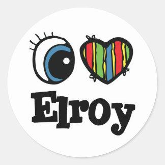 I  Heart (Love) Elroy Round Sticker