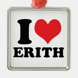 I Heart / love Erith Silver-Colored Square Decoration