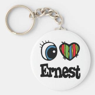 I  Heart (Love) Ernest Basic Round Button Key Ring