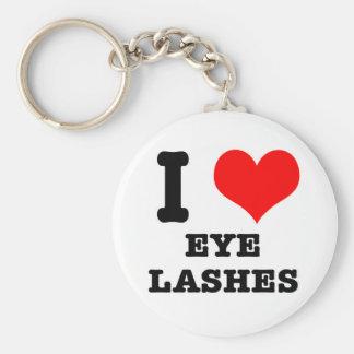 I HEART (LOVE) EYELASHES BASIC ROUND BUTTON KEY RING