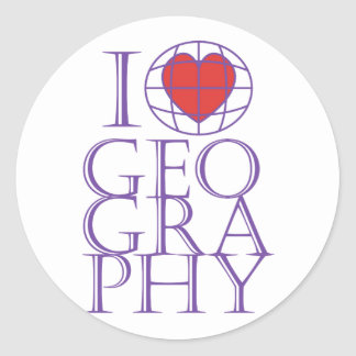 I heart (love) Geography Classic Round Sticker