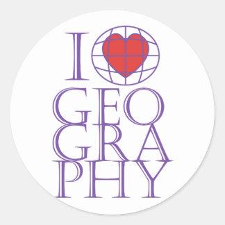 I heart (love) Geography Round Sticker