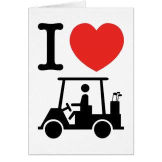 I Heart Love Golf Buggies Cards