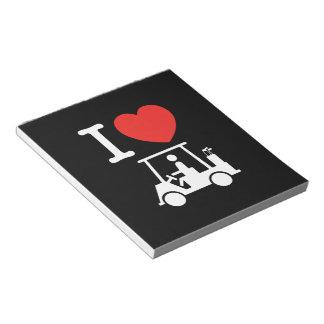 I Heart (Love) Golf Cart Notepad
