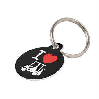 I Heart (Love) Golf Cart Pet ID Tag