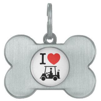 I Heart (Love) Golf Cart Pet Tag