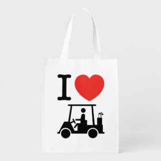 I Heart (Love) Golf Cart Reusable Grocery Bag