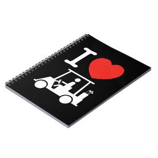 I Heart (Love) Golf Cart Spiral Notebook