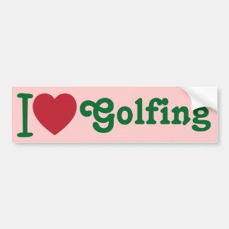 I Heart Love Golfing Golf Bumper Sticker