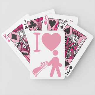 I Heart Love Golfing Pink White Golf Playing Cards