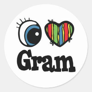 I Heart (Love) Gram Round Sticker