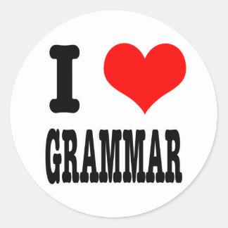 I HEART (LOVE) GRAMMAR ROUND STICKER