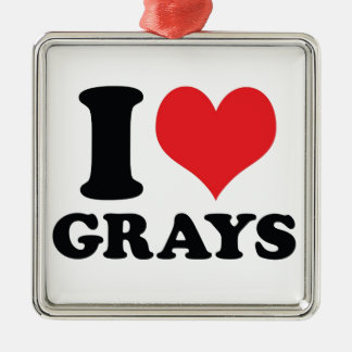 I Heart / love Grays Silver-Colored Square Decoration