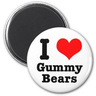 I HEART (LOVE) gummy bears 6 Cm Round Magnet