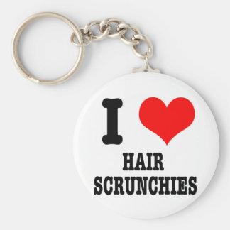 I HEART (LOVE) hair scrunchies Basic Round Button Key Ring