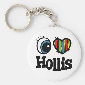 I Heart (Love) Hollis Basic Round Button Key Ring