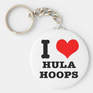 I HEART (LOVE) HULA HOOPS BASIC ROUND BUTTON KEY RING