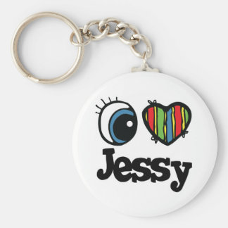I Heart (Love) Jessy Basic Round Button Key Ring