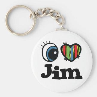 I Heart (Love) Jim Basic Round Button Key Ring