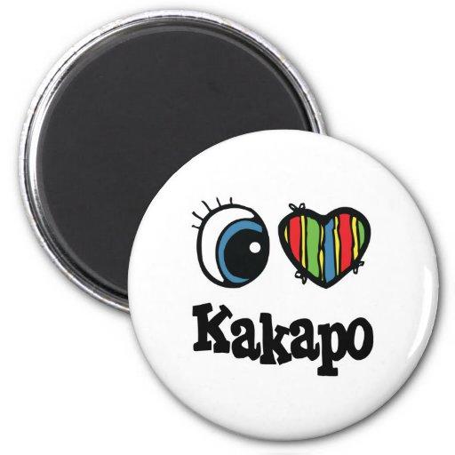 I Heart (Love) Kakapo 6 Cm Round Magnet