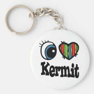 I Heart (Love) Kermit Basic Round Button Key Ring