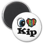 I Heart (Love) Kip 6 Cm Round Magnet