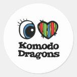 I Heart (Love) Komodo Dragons Classic Round Sticker