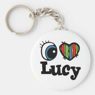 I Heart (Love) Lucy Basic Round Button Key Ring