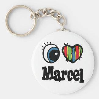 I Heart (Love) Marcel Basic Round Button Key Ring