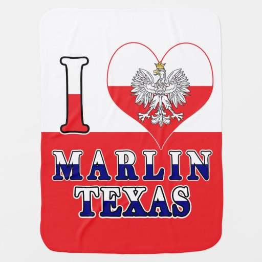 I Heart Love Marlin Texas Baby Blanket