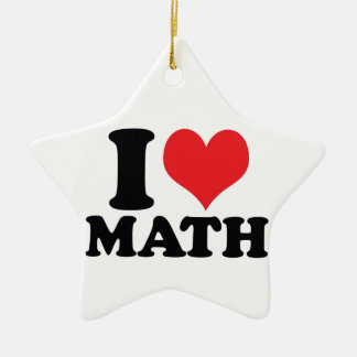 I Heart / love math Ceramic Star Decoration