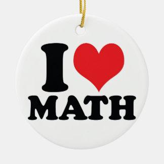 I Heart / love math Round Ceramic Decoration